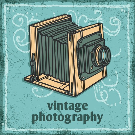 collectible: Retro photo camera vintage photography sketch poster vector illustration