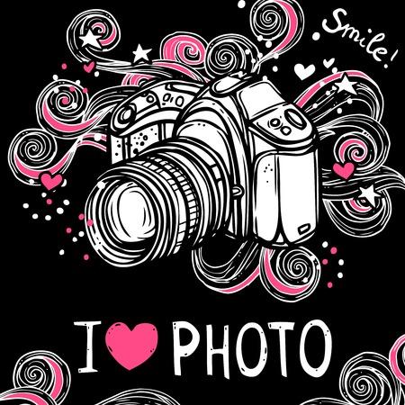 I love photo poster with sketch camera design on black background vector illustration Vector