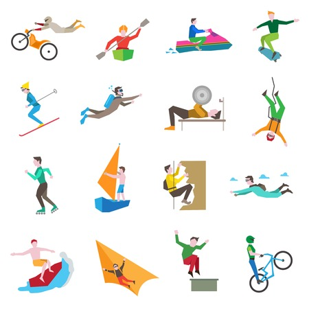 symbol sport: Extremsportarten Icons mit Menschen Kiten Radfahren Segeln Skifahren isolierten Vektor-Illustration gesetzt