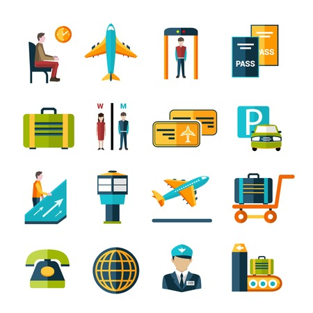 passport: Airport icon set with waiting lounge luggage cart passport control symbols isolated vector illustration