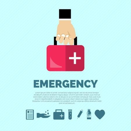 Notfallkonzept mit Hand Verbandskasten und Gesundheitswesen Symbole flach Vektor-Illustration Standard-Bild - 35031080