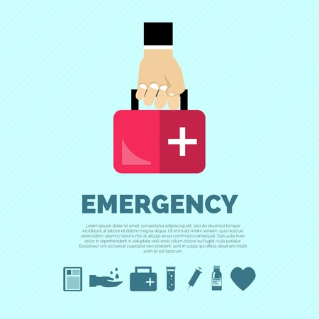 Emergency concept with hand holding first aid kit and healthcare symbols flat vector illustration Illustration