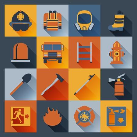 bombero de rojo: Iconos planos bombero establecidos con aislados equipo de alarma sombrero escalera insignia ilustración vectorial
