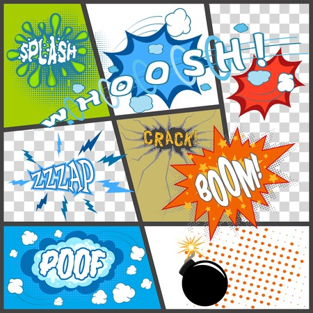 sounds: Comic book page with cartoon bomb abstract sounds speech bubbles vector illustration