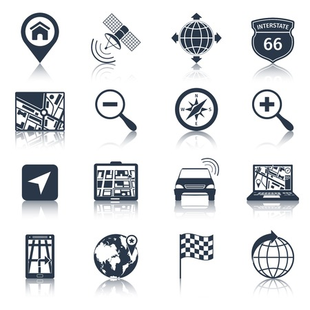 Navigation road traffic city drive icons black set isolated vector illustration Vector