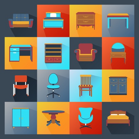 sideboard: Furniture icons flat set with wardrobe mirror computer table isolated vector illustration Illustration