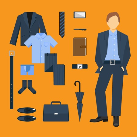 clothing: Business man clothes set with full length male figure isolated vector illustration Illustration