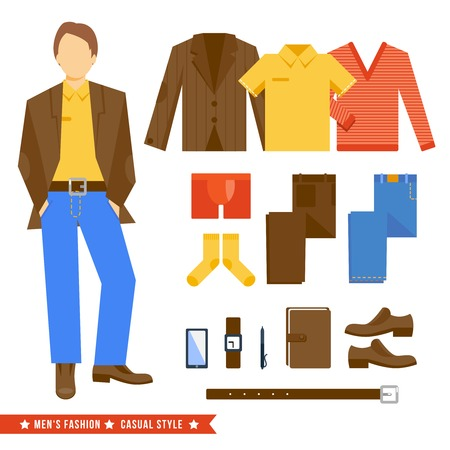 man underwear: Business man fashion clothes casual style icons decorative set vector illustration Illustration