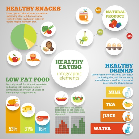 Healthy eating infographic set with low fat food symbols and charts vector illustration