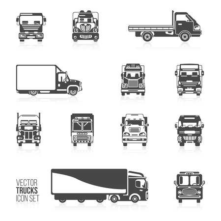 carriers: Trucks and delivery trailers automotive carriers decorative icons black set isolated vector illustration