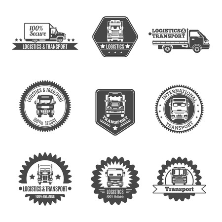 Truck logistics and transport auto transportation label black set isolated vector illustration Illustration