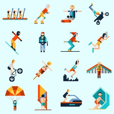 Deportes extremos iconos decorativos establecen con avatar pixel personas remando vela esquí aislado ilustración vectorial