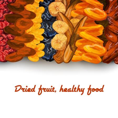 frutas secas: Decorativo secado al sol dieta fruta impresión background saludable con fechas albaricoques pasas y cerezas ilustración vectorial