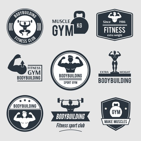 Bodybuilding black label set with muscle gym fitness sport club badges isolated vector illustration Vector