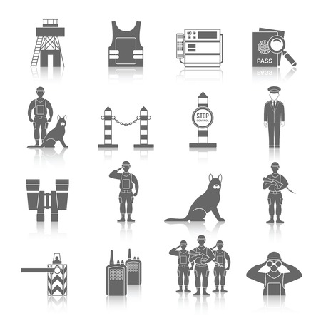 frontier: Border guard icon black set with frontier inspection security check isolated vector illustration Illustration