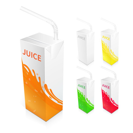 Juice box packages 3d realistic blank and colored set isolated vector illustration