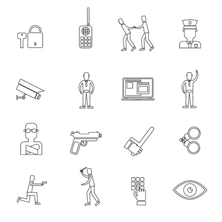 rogue: Security guard law protection police and criminal outline icons set isolated vector illustration