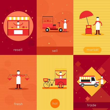 carretto gelati: Via fast food mini poster set con mercato di vendita rivendere commercio calda fresco illustrazione vettoriale isolato.