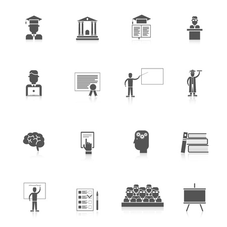 higher education: Higher education students college lectures icon black set isolated vector illustration Illustration