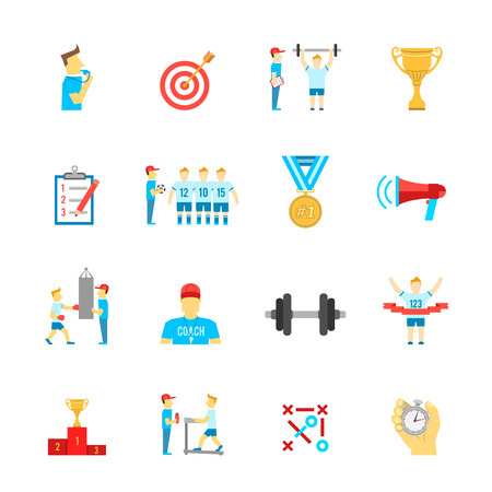 coach sport: Coaching football team planning boxing training flat icons set with trophy winner abstract isolated vector illustration