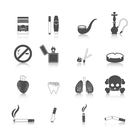 cigarette smoke: Smoking icon black set with cigarette cigar skull and crossbones isolated vector illustration
