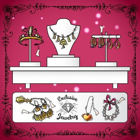 aretes: Exhibici�n de la tienda de joyer�a con accesorios de la boda de lujo exclusivo de croquis ilustraci�n vectorial