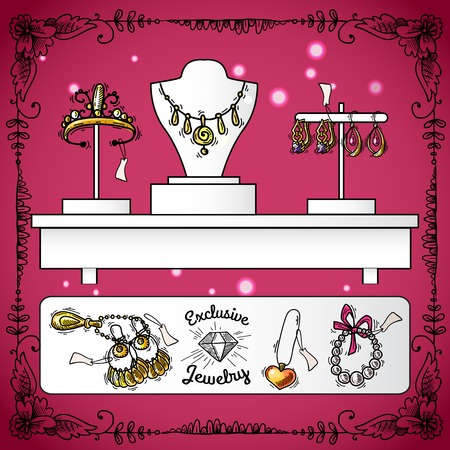print shop: Jewelry shop display with exclusive sketch luxury wedding accessories vector illustration Illustration