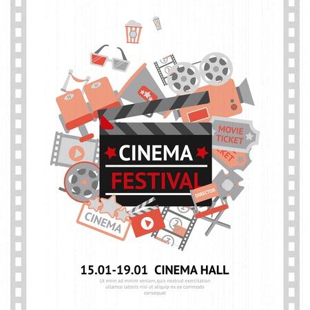 teatro: Cine Festival remitente con negocio cinematogr�fico y equipos de entretenimiento ilustraci�n vectorial Vectores