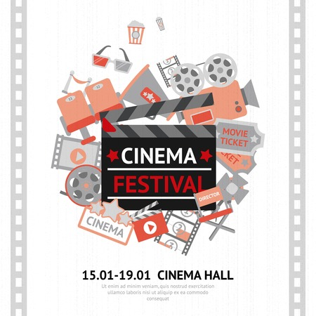 movie poster: Cinema festival poster with filmmaking business and entertainment equipment vector illustration