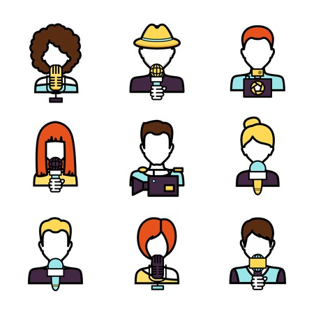 Journalist avatar mass media news reporter characters set isolated vector illustration Vector