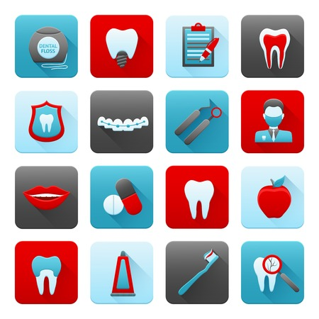 Dental icons medical stomatology and dentistry set with brush teeth toothpaste isolated vector illustration Vector