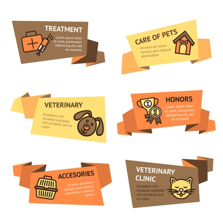 pet store advertising: Veterinary paper banner set with pets treatment clinic accessories isolated vector illustration