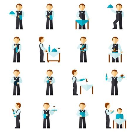 charolas: Camarero del hombre con el icono de avatar restaurante empleado conjunto plana aislado ilustración vectorial