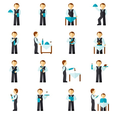 waiter tray: Waiter man with restaurant employee avatar icon flat set isolated vector illustration Illustration