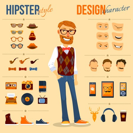 geek: Male hipster character pack with geek fashion trendy elements isolated vector illustration Illustration