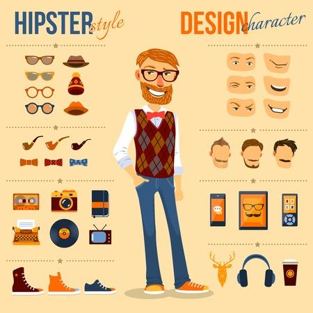 geek: Paquete car�cter inconformista de sexo masculino con la moda friki elementos de moda aislado ilustraci�n vectorial