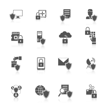 Information security data server cyber protection black icon set isolated vector illustration Illustration