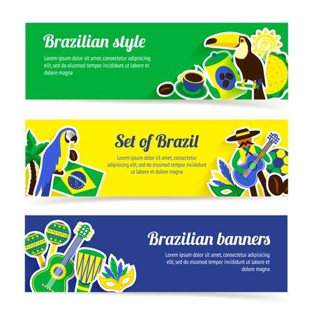 브라질 가로 배너는 브라질 음악 자연과 여행 기호 격리 된 벡터 일러스트 레이 션 설정