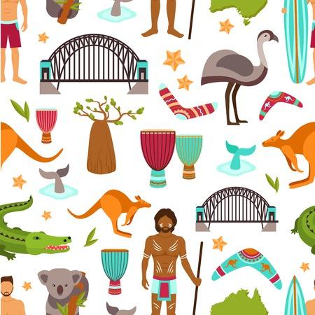 aborigine: Australia sin patr�n con animales aborigen australiano y la ilustraci�n vectorial tur�stico Vectores
