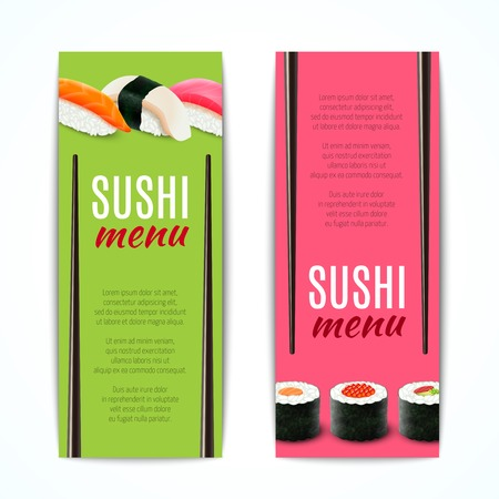 Sushi menu banners vertical with japanese rice and fish cuisine rolls isolated vector illustration