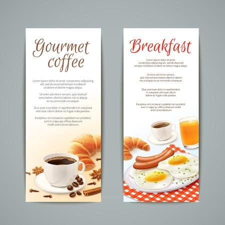 Ontbijt eten verticale banners set met een kopje koffie croissant gebakken eieren en sinaasappelsap geïsoleerde vector illustratie