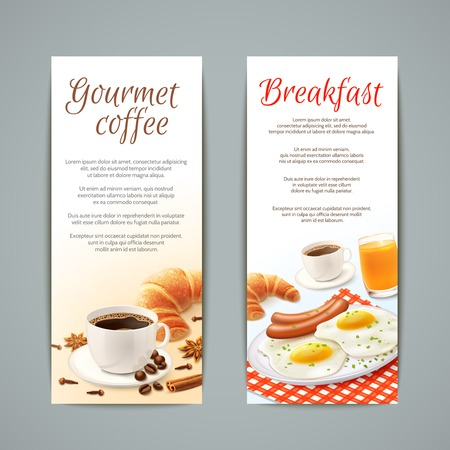 Breakfast food vertical banners set with coffee cup croissant fried eggs and orange juice isolated vector illustration Illustration