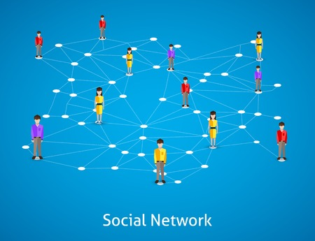 男性と女性のアバターと社会的ネットワークの概念ベクトル図を接続