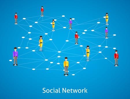Sociaal netwerk concept met mannelijke en vrouwelijke avatars verbonden vector illustratie
