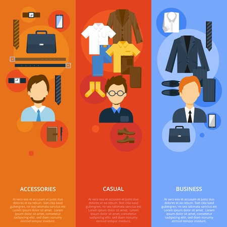 ropa casual: Hombre de negocios ropa banners verticales conjunto plana con los accesorios y la ropa de sport ilustraci�n vectorial