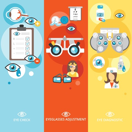 eye contact: Oculist flat banner vertical set with eye check diagnostics eyeglasses adjustment isolated vector illustration