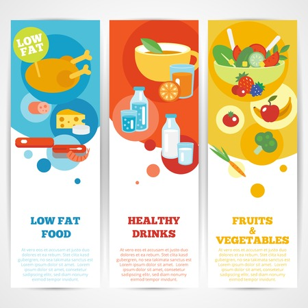 Healthy eating vertical banner set with fruits and vegetables drinks low fat food isolated vector illustration