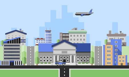 corporate buildings: Office buildings background with business corporate city center houses flat background vector illustration