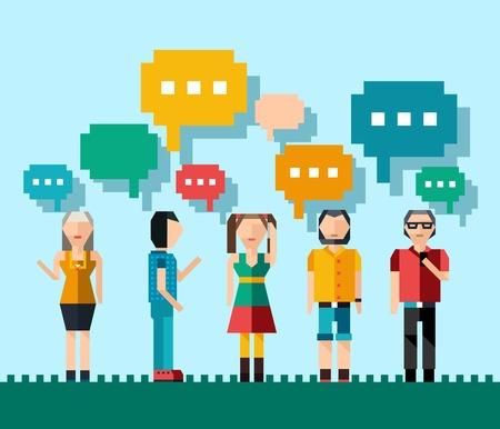 Sociaal netwerk media praatje concept met pixel mensen avatars en tekstballonnen vector illustratie Stockfoto - 35430505