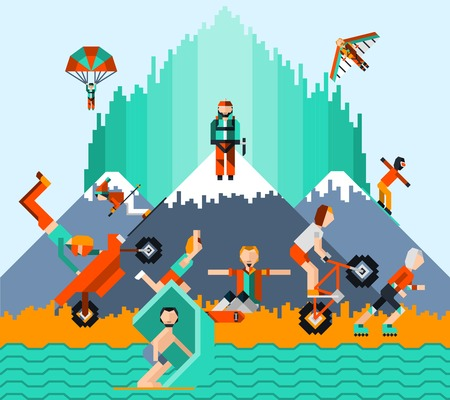 fallschirm: Extreme Sport-Konzept mit Menschen Eislaufen Windsurfen Radfahren Fallschirmspringen Vektor-Illustration
